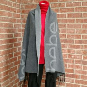 bebe Two Tone Gray Logo Blanket Shawl Wrap